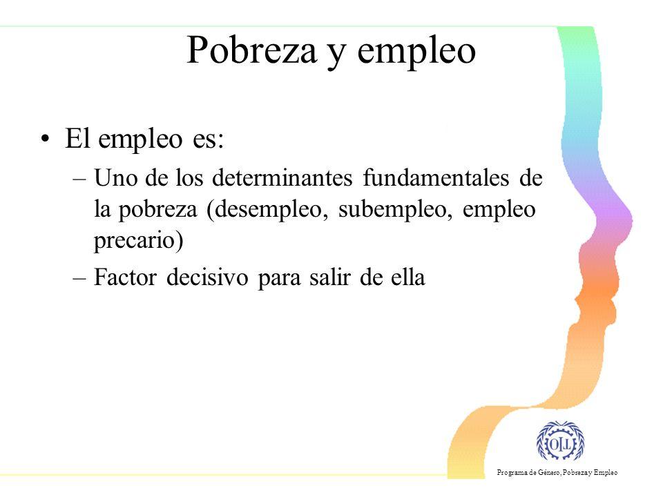 Programa de Género, Pobreza y Empleo Pobreza y empleo El empleo es: –Uno de los determinantes fundamentales de la pobreza (desempleo, subempleo, empleo precario) –Factor decisivo para salir de ella