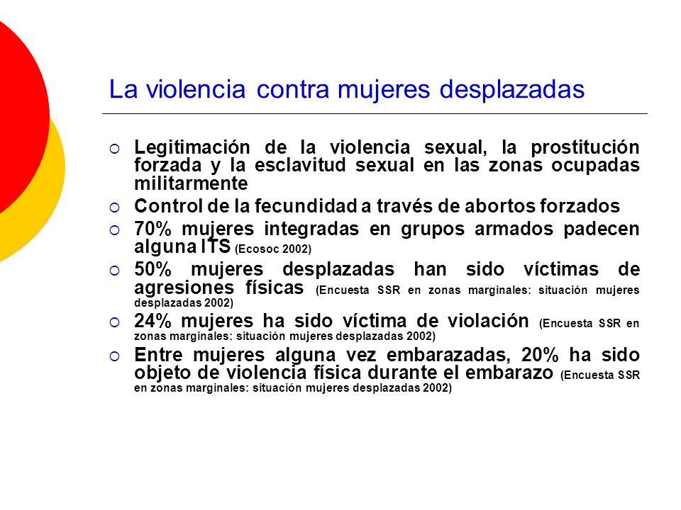 La violencia contra mujeres desplazadas Legitimación de la violencia sexual, la prostitución forzada y la esclavitud sexual en las zonas ocupadas mili