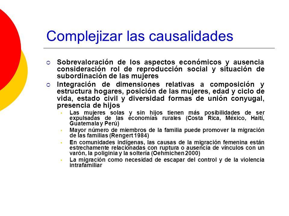 Complejizar las causalidades Sobrevaloración de los aspectos económicos y ausencia consideración rol de reproducción social y situación de subordinaci