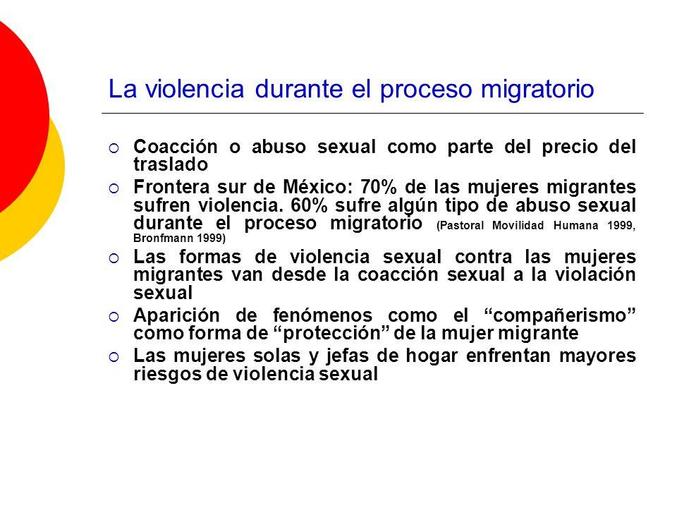 La violencia durante el proceso migratorio Coacción o abuso sexual como parte del precio del traslado Frontera sur de México: 70% de las mujeres migra