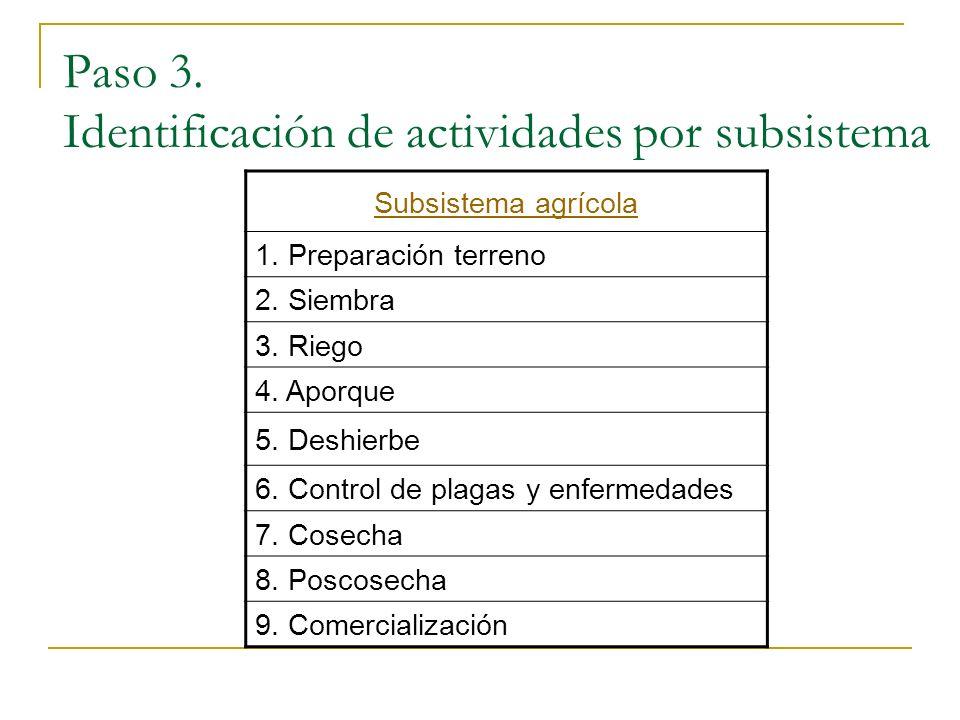 Paso 3. Identificación de actividades por subsistema Subsistema agrícola 1. Preparación terreno 2. Siembra 3. Riego 4. Aporque 5. Deshierbe 6. Control