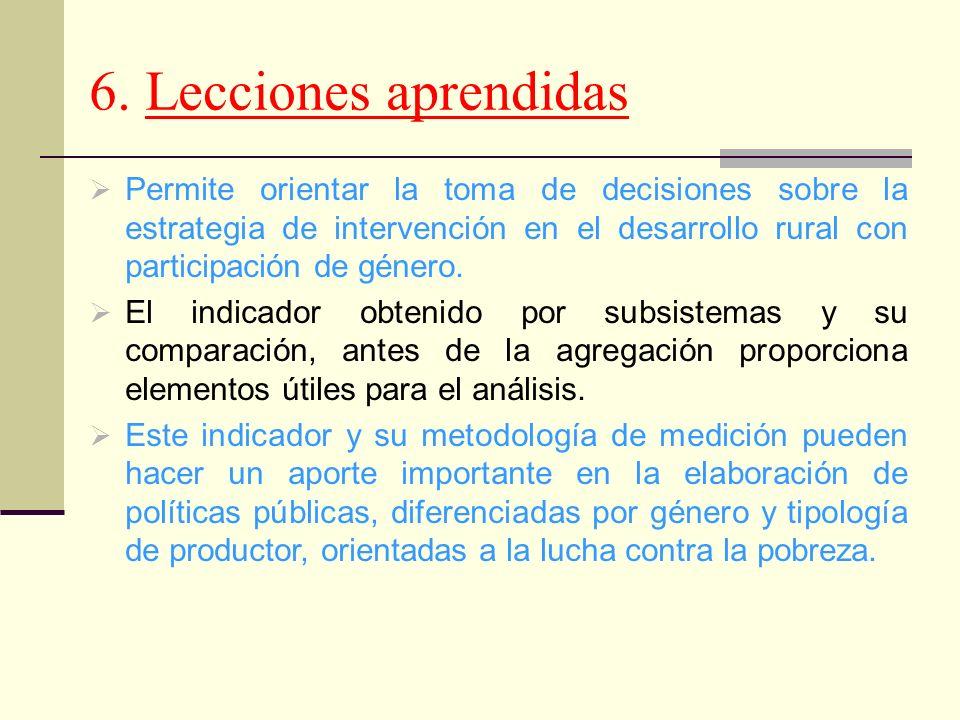 6. Lecciones aprendidas Permite orientar la toma de decisiones sobre la estrategia de intervención en el desarrollo rural con participación de género.