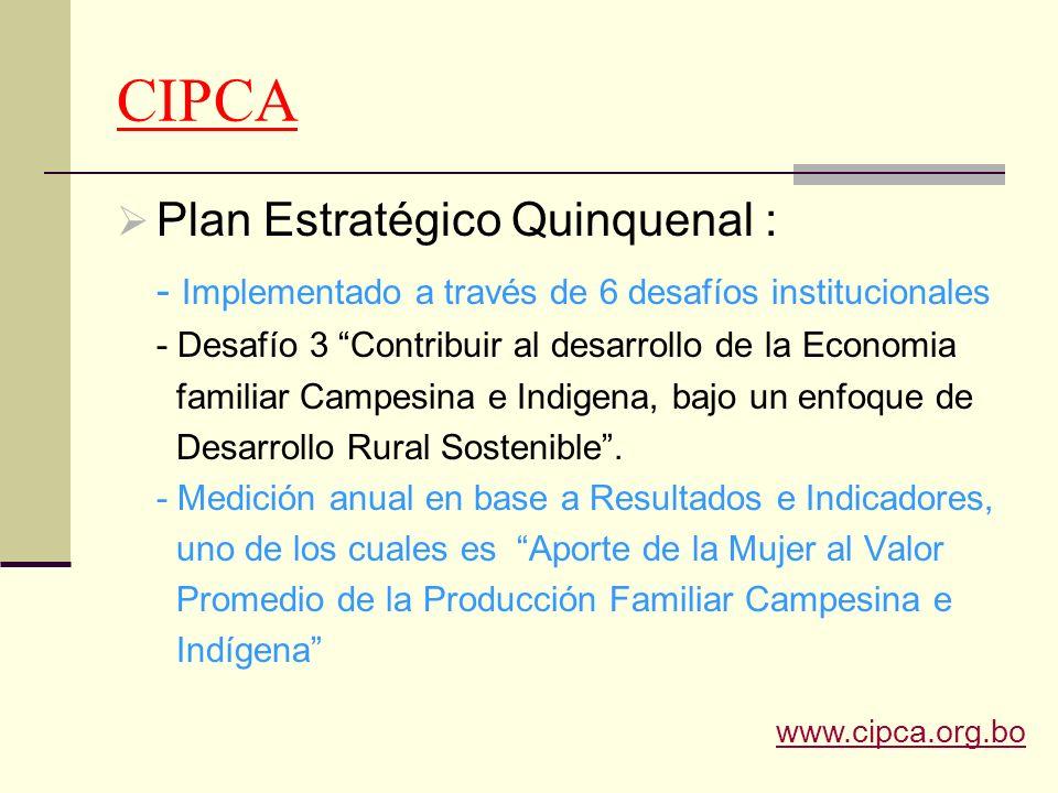 CIPCA Plan Estratégico Quinquenal : - Implementado a través de 6 desafíos institucionales - Desafío 3 Contribuir al desarrollo de la Economia familiar