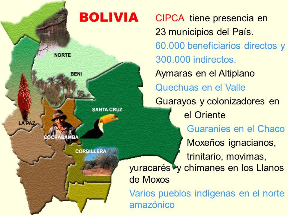BOLIVIA CIPCA tiene presencia en 23 municipios del País. 60.000 beneficiarios directos y 300.000 indirectos. Aymaras en el Altiplano Quechuas en el Va
