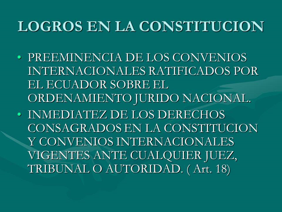 LOGROS EN LA CONSTITUCION PREEMINENCIA DE LOS CONVENIOS INTERNACIONALES RATIFICADOS POR EL ECUADOR SOBRE EL ORDENAMIENTO JURIDO NACIONAL.PREEMINENCIA