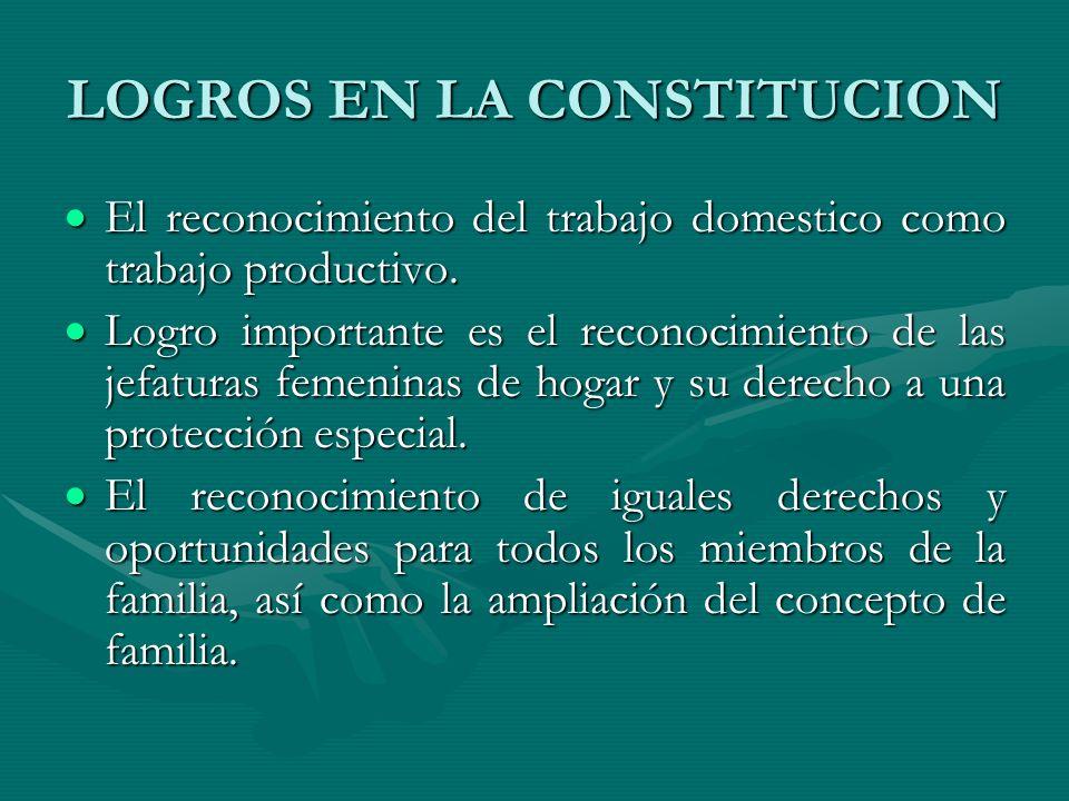 LOGROS EN LA CONSTITUCION El reconocimiento del trabajo domestico como trabajo productivo. El reconocimiento del trabajo domestico como trabajo produc