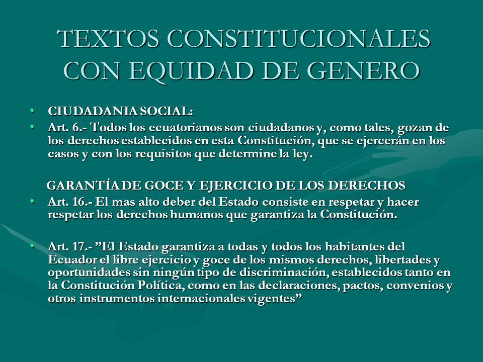 TEXTOS CONSTITUCIONALES CON EQUIDAD DE GENERO TEXTOS CONSTITUCIONALES CON EQUIDAD DE GENERO CIUDADANIA SOCIAL:CIUDADANIA SOCIAL: Art. 6.- Todos los ec