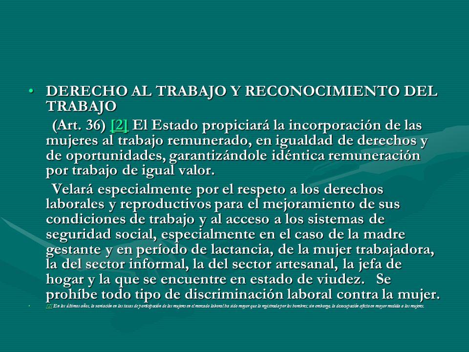 DERECHO AL TRABAJO Y RECONOCIMIENTO DEL TRABAJODERECHO AL TRABAJO Y RECONOCIMIENTO DEL TRABAJO (Art. 36) [2] El Estado propiciará la incorporación de