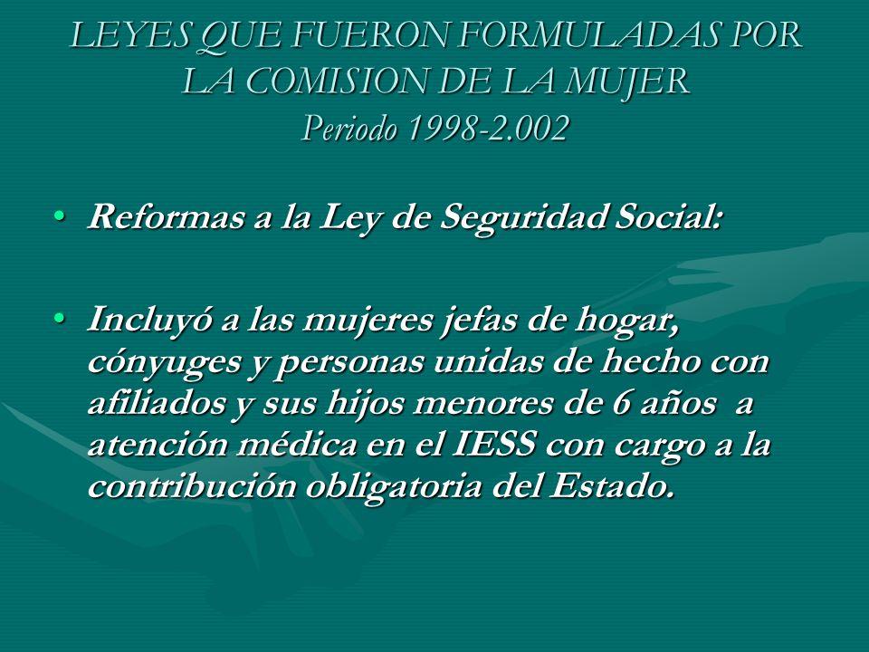 LEYES QUE FUERON FORMULADAS POR LA COMISION DE LA MUJER Periodo 1998-2.002 Reformas a la Ley de Seguridad Social:Reformas a la Ley de Seguridad Social