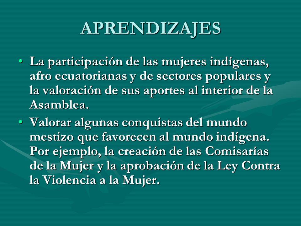 APRENDIZAJES La participación de las mujeres indígenas, afro ecuatorianas y de sectores populares y la valoración de sus aportes al interior de la Asa