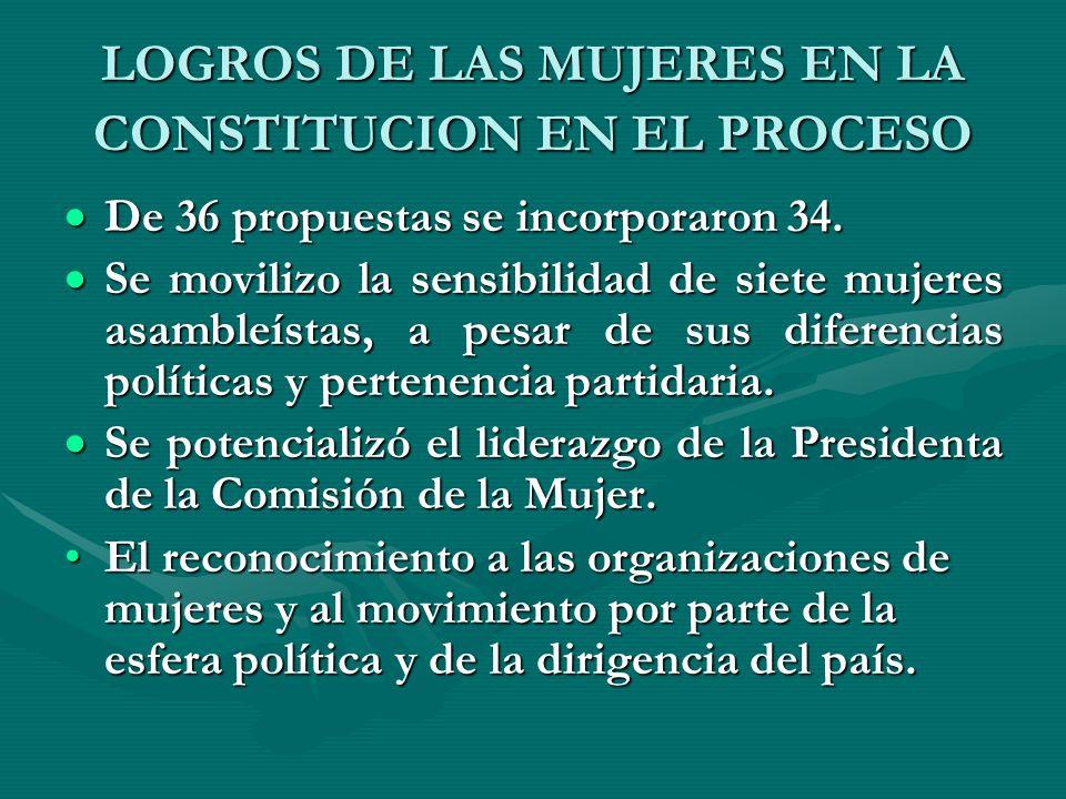 LOGROS DE LAS MUJERES EN LA CONSTITUCION EN EL PROCESO De 36 propuestas se incorporaron 34. De 36 propuestas se incorporaron 34. Se movilizo la sensib