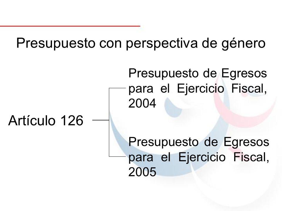 Presupuesto con perspectiva de género Artículo 126 Presupuesto de Egresos para el Ejercicio Fiscal, 2004 Presupuesto de Egresos para el Ejercicio Fisc