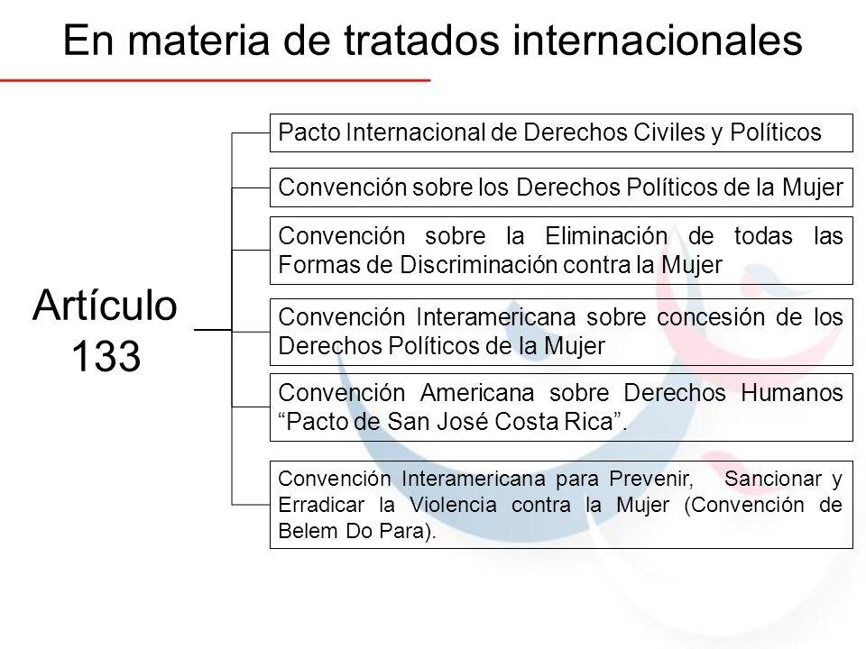 En materia de tratados internacionales Artículo 133 Pacto Internacional de Derechos Civiles y Políticos Convención sobre los Derechos Políticos de la