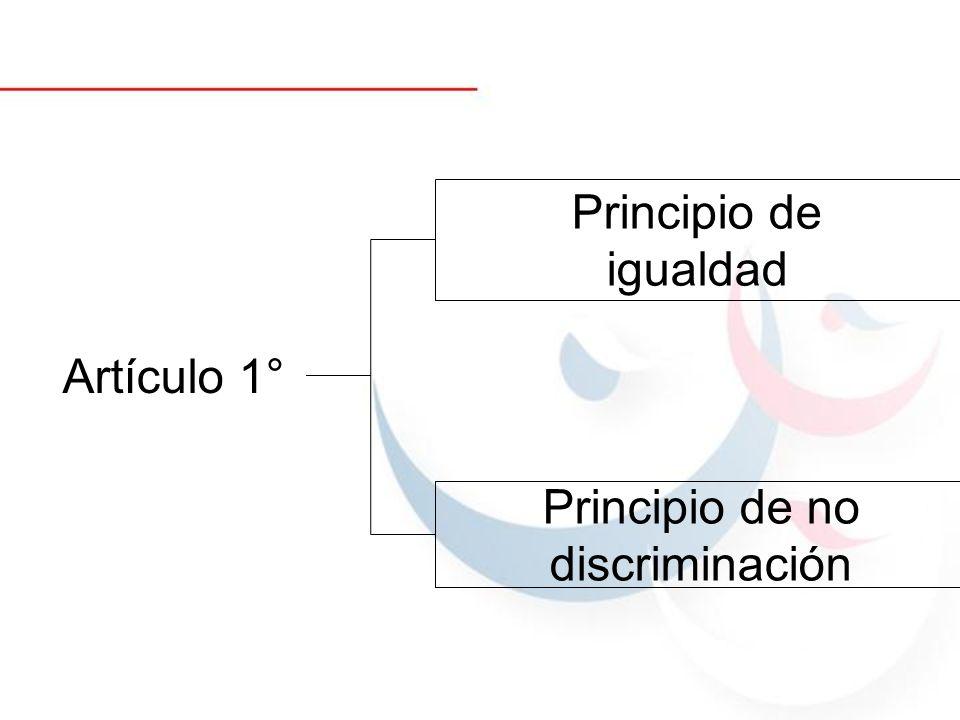 Artículo 1° Principio de igualdad Principio de no discriminación