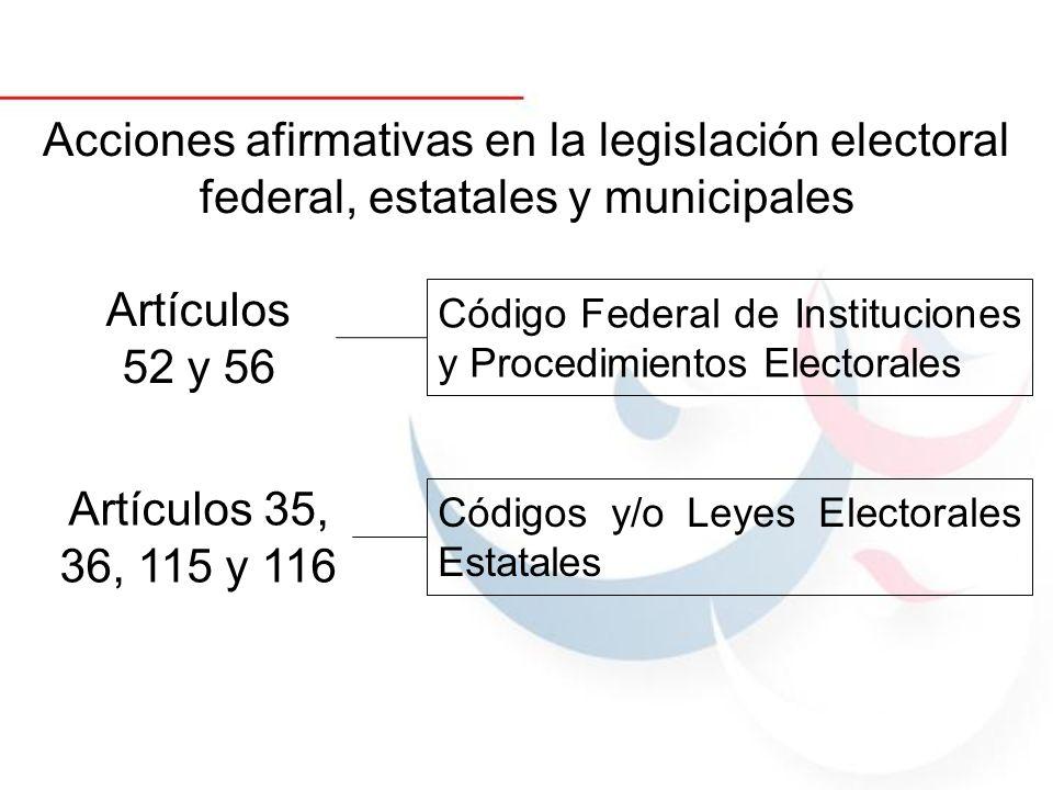 Acciones afirmativas en la legislación electoral federal, estatales y municipales Artículos 52 y 56 Código Federal de Instituciones y Procedimientos E