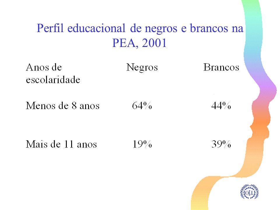 Perfil educacional de negros e brancos na PEA, 2001