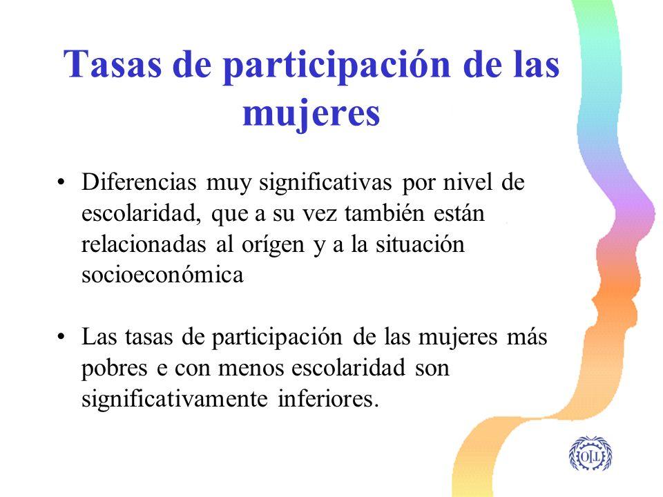 Tasas de participación de las mujeres Diferencias muy significativas por nivel de escolaridad, que a su vez también están relacionadas al orígen y a l