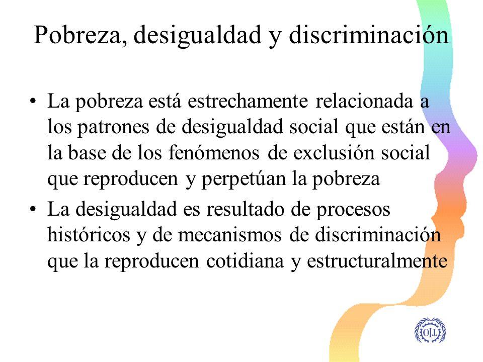 Desigualdades y discriminación de género y de raza/etnia Son dos formas fundamentales de desigualdad y discriminación que atravesan la sociedad y el mundo del trabajo en América Latina Constituyen ejes estructurantes de los padrones de desigualdad y exclusión social que repoducen y perpetúan la pobreza en A.Latina.