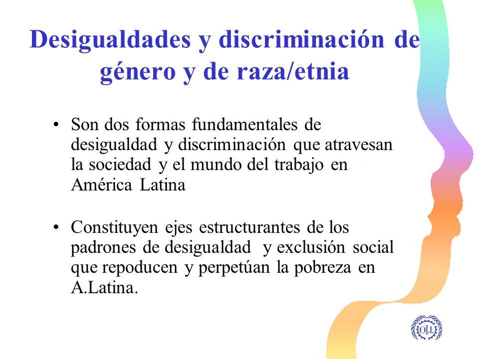 Desigualdades y discriminación de género y de raza/etnia Son dos formas fundamentales de desigualdad y discriminación que atravesan la sociedad y el m