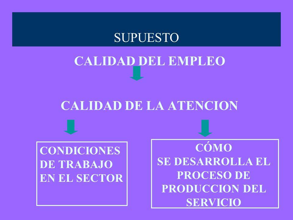 CALIDAD DEL EMPLEO CALIDAD DE LA ATENCION CONDICIONES DE TRABAJO EN EL SECTOR SUPUESTO CÓMO SE DESARROLLA EL PROCESO DE PRODUCCION DEL SERVICIO