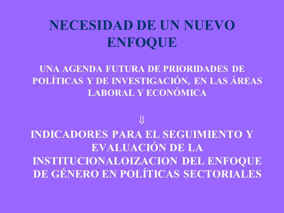 NECESIDAD DE UN NUEVO ENFOQUE UNA AGENDA FUTURA DE PRIORIDADES DE POLÍTICAS Y DE INVESTIGACIÓN, EN LAS ÁREAS LABORAL Y ECONÓMICA INDICADORES PARA EL SEGUIMIENTO Y EVALUACIÓN DE LA INSTITUCIONALOIZACION DEL ENFOQUE DE GÉNERO EN POLÍTICAS SECTORIALES