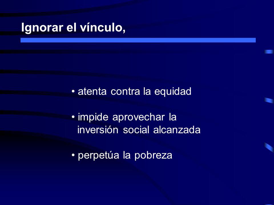 Ignorar el vínculo, atenta contra la equidad impide aprovechar la inversión social alcanzada perpetúa la pobreza