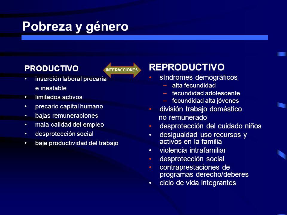 Pobreza y género PRODUCTIVO inserción laboral precaria e inestable limitados activos precario capital humano bajas remuneraciones mala calidad del emp
