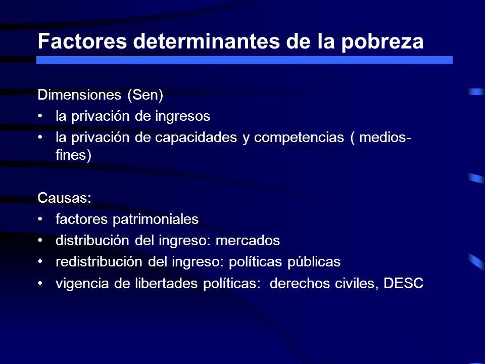 Factores determinantes de la pobreza Dimensiones (Sen) la privación de ingresos la privación de capacidades y competencias ( medios- fines) Causas: fa