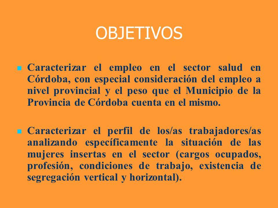 OBJETIVOS Caracterizar el empleo en el sector salud en Córdoba, con especial consideración del empleo a nivel provincial y el peso que el Municipio de