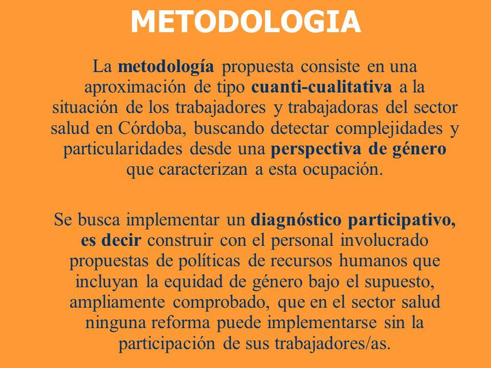 METODOLOGIA La metodología propuesta consiste en una aproximación de tipo cuanti-cualitativa a la situación de los trabajadores y trabajadoras del sec