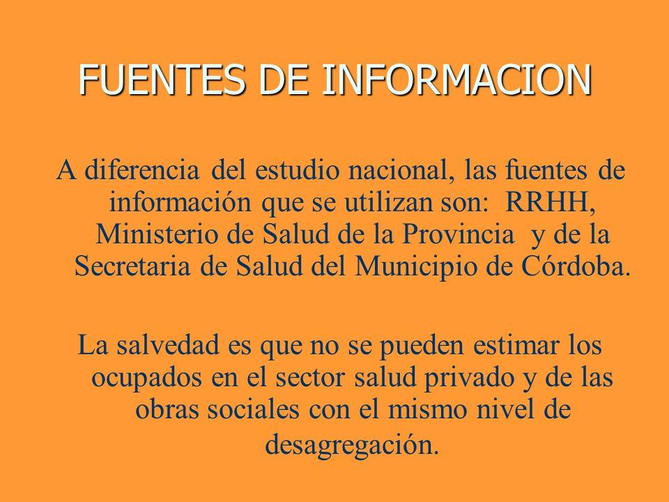 FUENTES DE INFORMACION A diferencia del estudio nacional, las fuentes de información que se utilizan son: RRHH, Ministerio de Salud de la Provincia y