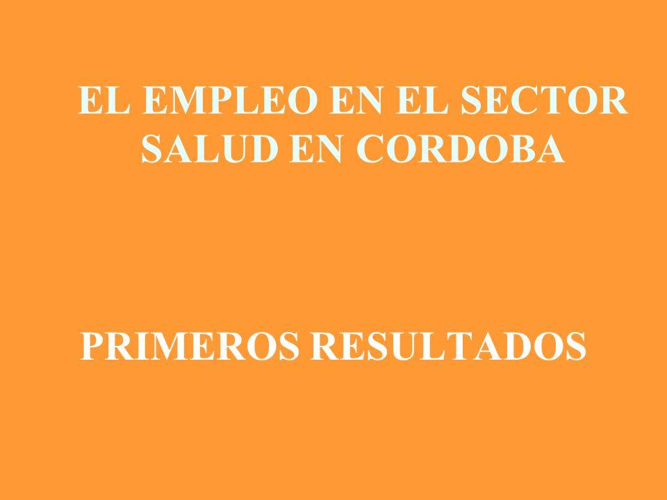 EL EMPLEO EN EL SECTOR SALUD EN LA PROVINCIA DE CORDOBA 12.909 trabajadores/as provinciales 9.161 en Equipo de Salud (69.4% mujeres) 3.281 en tareas administrativas (54.2% mujeres) (Fuente: Ministerio de Salud, Provincia de Córdoba 2004)