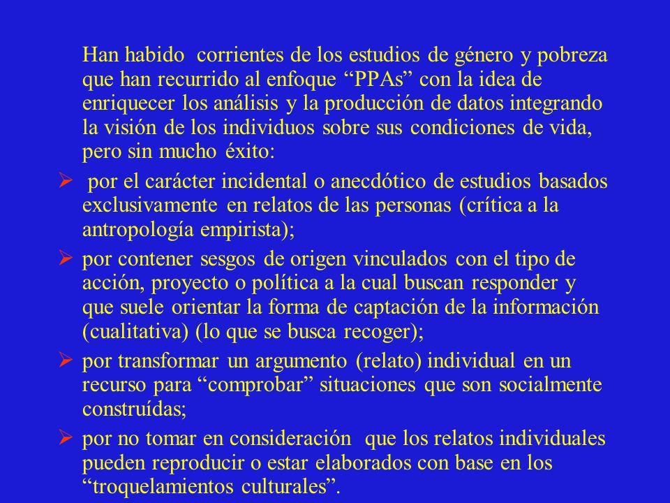 Grupos focales Objetivo: recoger percepciones y vivencias de la pobreza mediante la captura de discursos proferidos en grupos de discusión (acercamiento a la intersubjetividad) (Guía de preguntas) (3 grupos focales (10-12 personas) Prueba de léxico Cuestionario con base en preguntas sobre pobreza,ser mujer pobre, ser hombre pobre (a) disponibilidad de Léxico (asociaciones libres) (b) Mejores descriptores (opción múltiple) (c) Diferencial semántico (escalas valorativas) (d) Denotación (definiciones) (Véase Flores en Observatorio MacArthur).