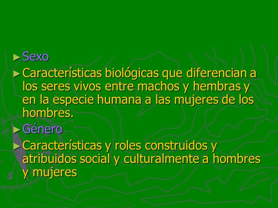 Sexo Sexo Características biológicas que diferencian a los seres vivos entre machos y hembras y en la especie humana a las mujeres de los hombres. Car