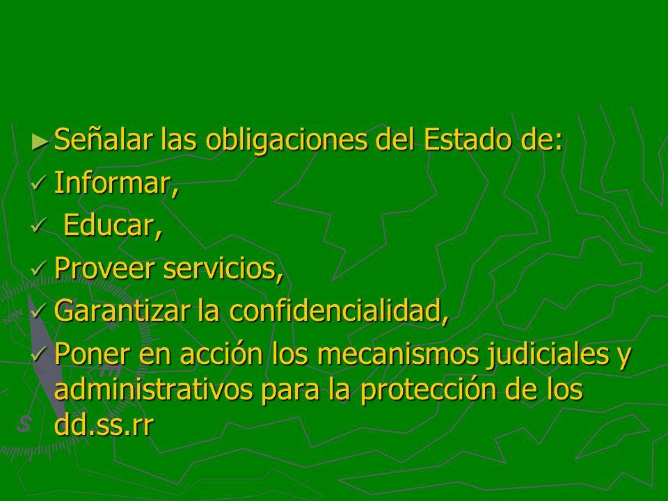 Señalar las obligaciones del Estado de: Señalar las obligaciones del Estado de: Informar, Informar, Educar, Educar, Proveer servicios, Proveer servici