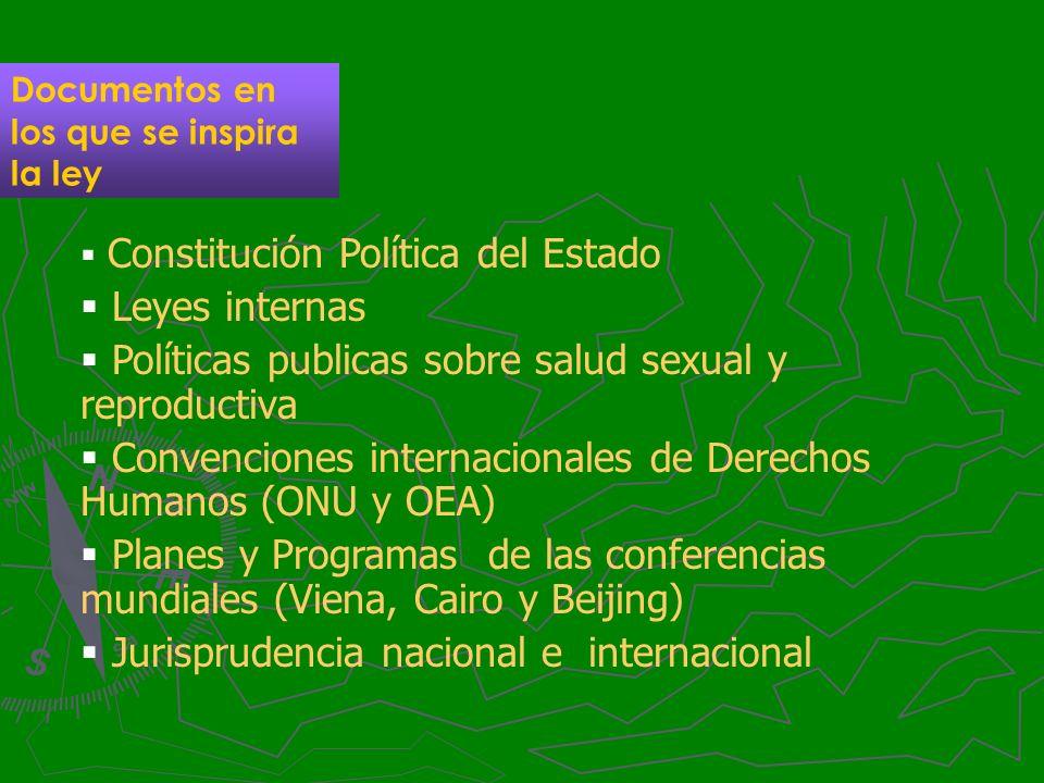 Documentos en los que se inspira la ley Constitución Política del Estado Leyes internas Políticas publicas sobre salud sexual y reproductiva Convencio