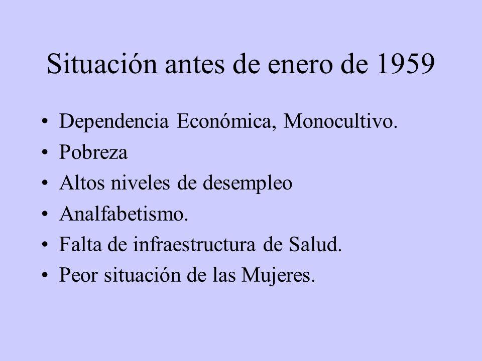 Situación antes de enero de 1959 Dependencia Económica, Monocultivo.