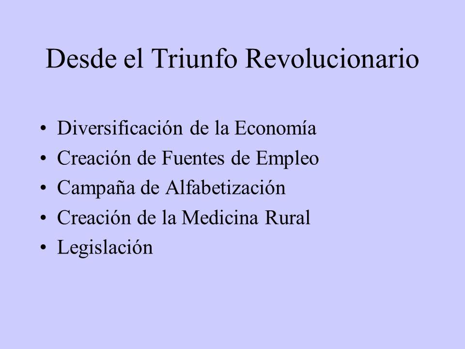Desde el Triunfo Revolucionario Diversificación de la Economía Creación de Fuentes de Empleo Campaña de Alfabetización Creación de la Medicina Rural Legislación