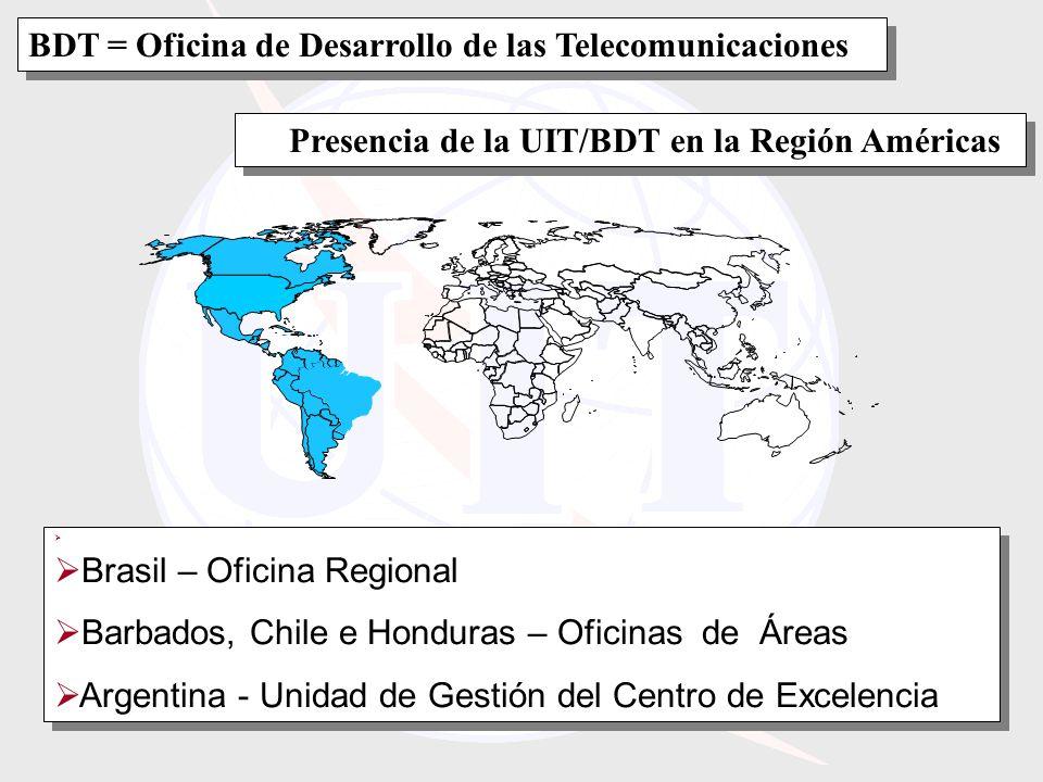Presencia de la UIT/BDT en la Región Américas Brasil – Oficina Regional Barbados, Chile e Honduras – Oficinas de Áreas Argentina - Unidad de Gestión del Centro de Excelencia Brasil – Oficina Regional Barbados, Chile e Honduras – Oficinas de Áreas Argentina - Unidad de Gestión del Centro de Excelencia BDT = Oficina de Desarrollo de las Telecomunicaciones