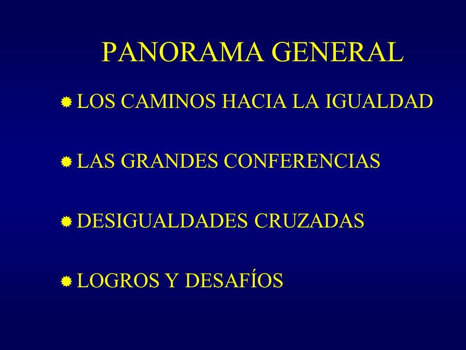PANORAMA GENERAL LOS CAMINOS HACIA LA IGUALDAD LAS GRANDES CONFERENCIAS DESIGUALDADES CRUZADAS LOGROS Y DESAFÍOS