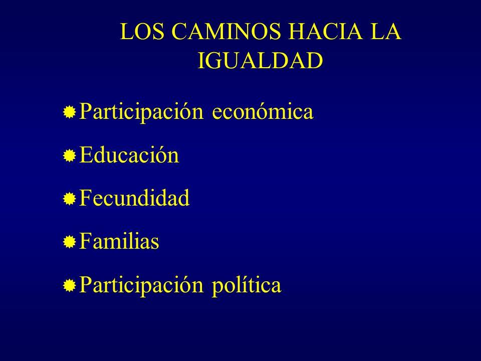 LOS CAMINOS HACIA LA IGUALDAD Participación económica Educación Fecundidad Familias Participación política