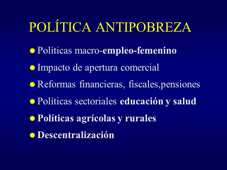 POLÍTICA ANTIPOBREZA Políticas macro-empleo-femenino Impacto de apertura comercial Reformas financieras, fiscales,pensiones Políticas sectoriales educación y salud Políticas agrícolas y rurales Descentralización