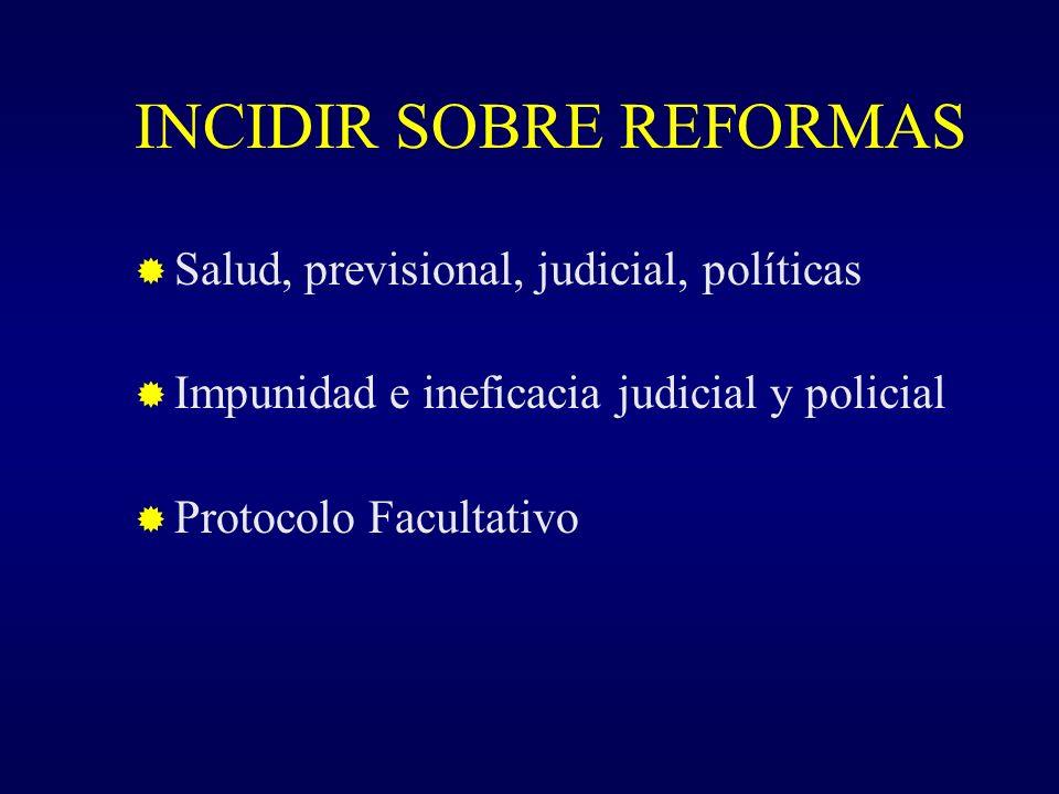 INCIDIR SOBRE REFORMAS Salud, previsional, judicial, políticas Impunidad e ineficacia judicial y policial Protocolo Facultativo