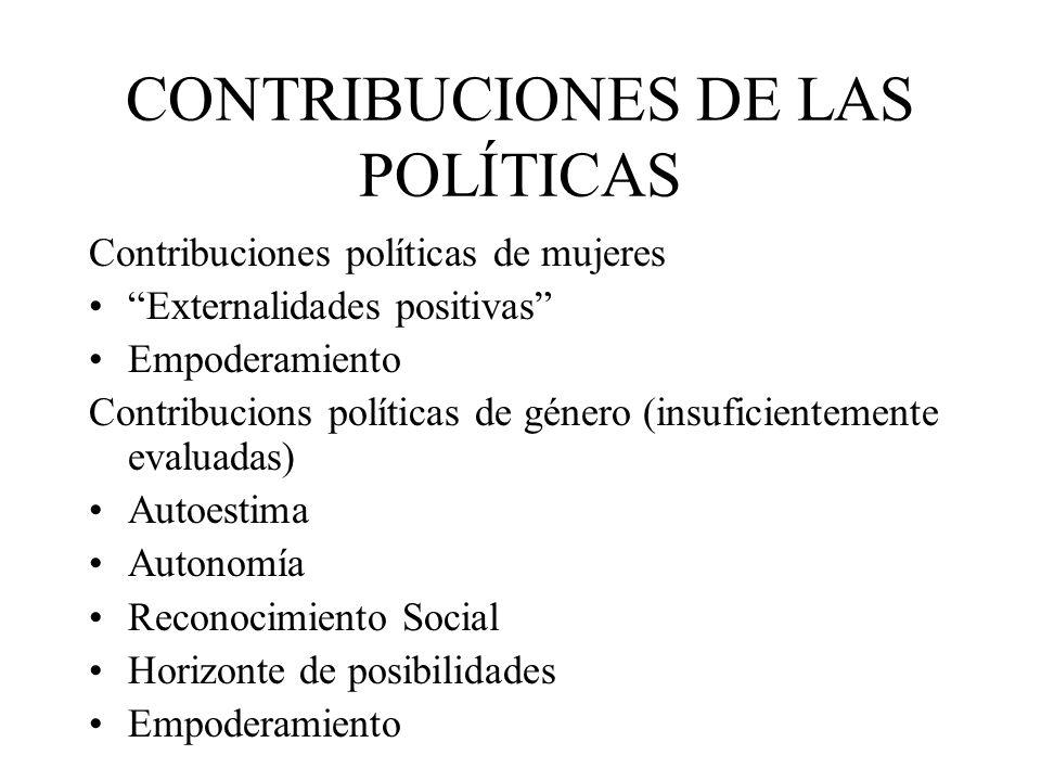 CONTRIBUCIONES DE LAS POLÍTICAS Contribuciones políticas de mujeres Externalidades positivas Empoderamiento Contribucions políticas de género (insuficientemente evaluadas) Autoestima Autonomía Reconocimiento Social Horizonte de posibilidades Empoderamiento