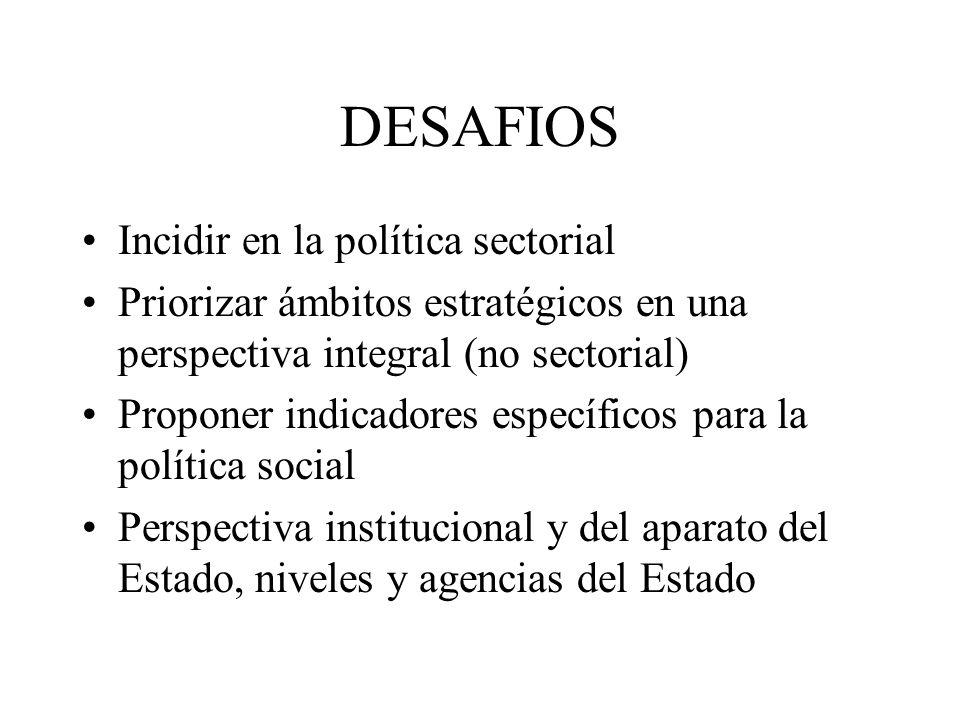 DESAFIOS Incidir en la política sectorial Priorizar ámbitos estratégicos en una perspectiva integral (no sectorial) Proponer indicadores específicos p