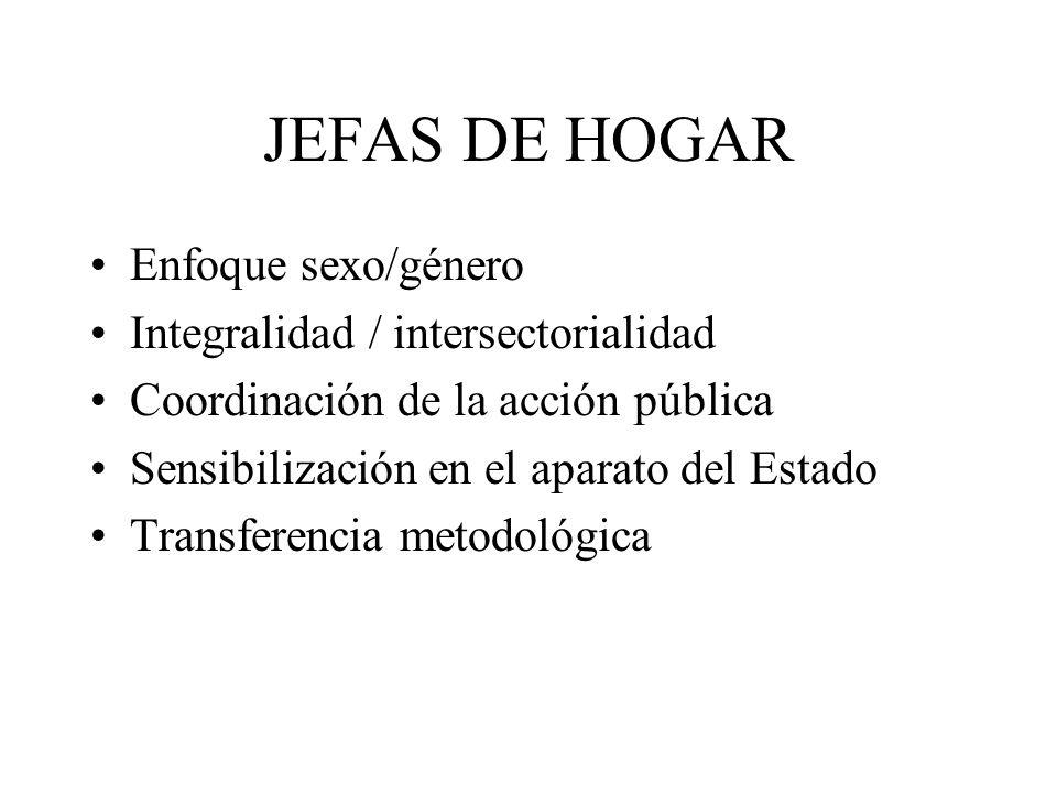 JEFAS DE HOGAR Enfoque sexo/género Integralidad / intersectorialidad Coordinación de la acción pública Sensibilización en el aparato del Estado Transf