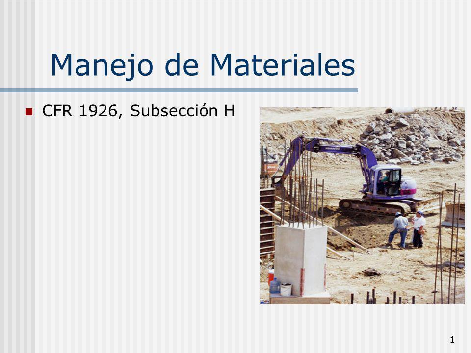 1 Manejo de Materiales CFR 1926, Subsección H