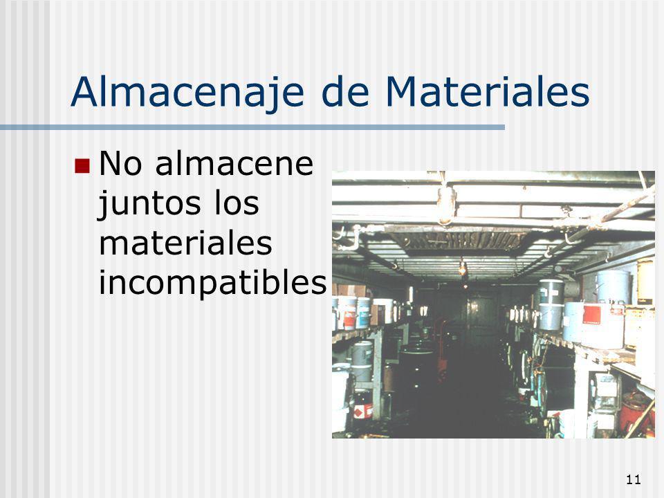 11 Almacenaje de Materiales No almacene juntos los materiales incompatibles