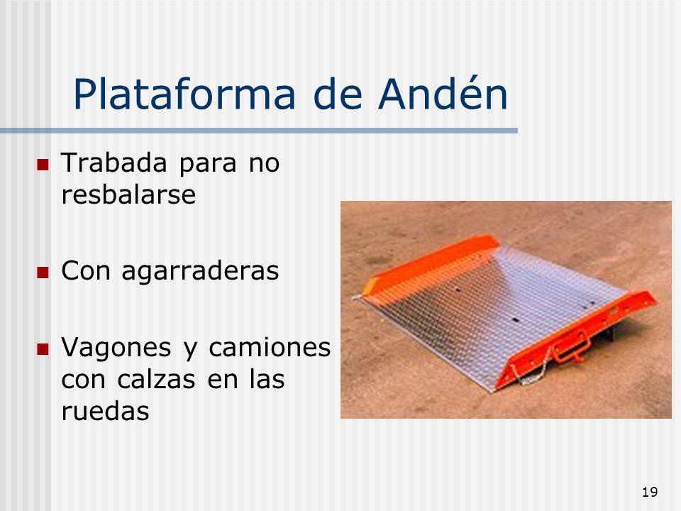19 Plataforma de Andén Trabada para no resbalarse Con agarraderas Vagones y camiones con calzas en las ruedas