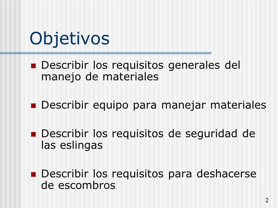 2 Objetivos Describir los requisitos generales del manejo de materiales Describir equipo para manejar materiales Describir los requisitos de seguridad